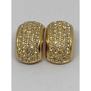 Vintage Dior Pave Cuff Earrings Clip Signed